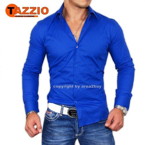 big sale f3570 47d4f Tazzio Slim Fit Uni Hemd 9000 Saks Blau
