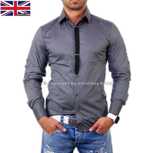 Sixth June SC-551 Krawatte Style club Hemd Anthrazit 2558