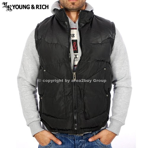 Young&Rich YR-8986 Winter Weste Jacke Sweater Schwarz