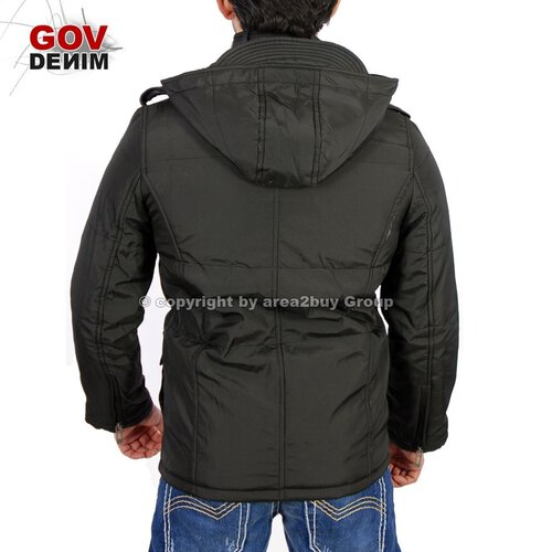 Gov Denim Z-10360 Winter Jacke Parker Kurz Mantel schwarz
