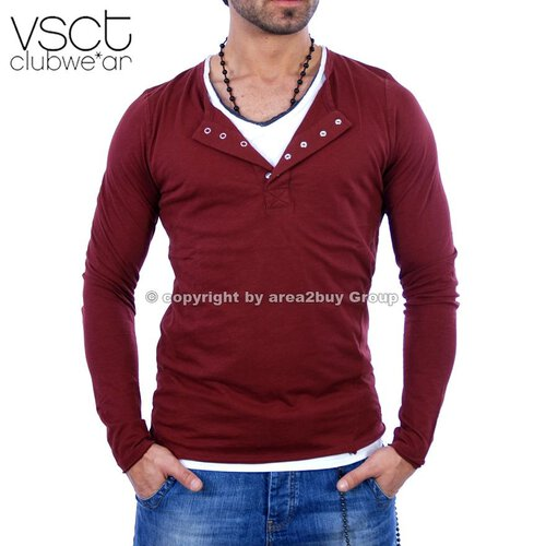 Vsct V-5640315 Layer style V-neck Longsleeve Oxblood Rot