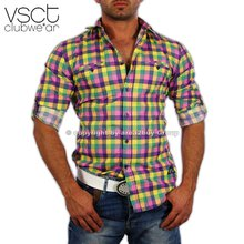 Vsct V-0196 Party Club Karo Hemd gelb Pink