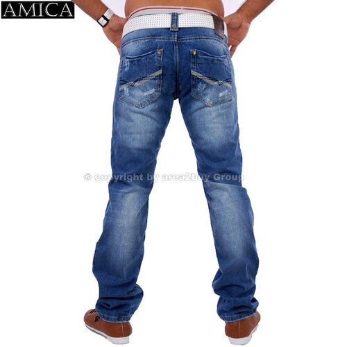 Amica A-9611 destroyed look blue Jeans blau