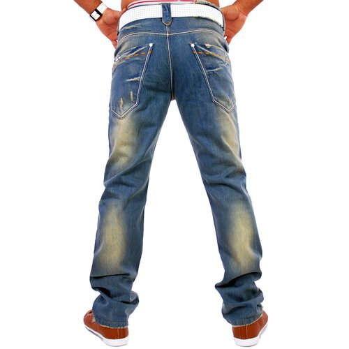 Tazzio TZ-5052 sand washed light blue Jeans blau