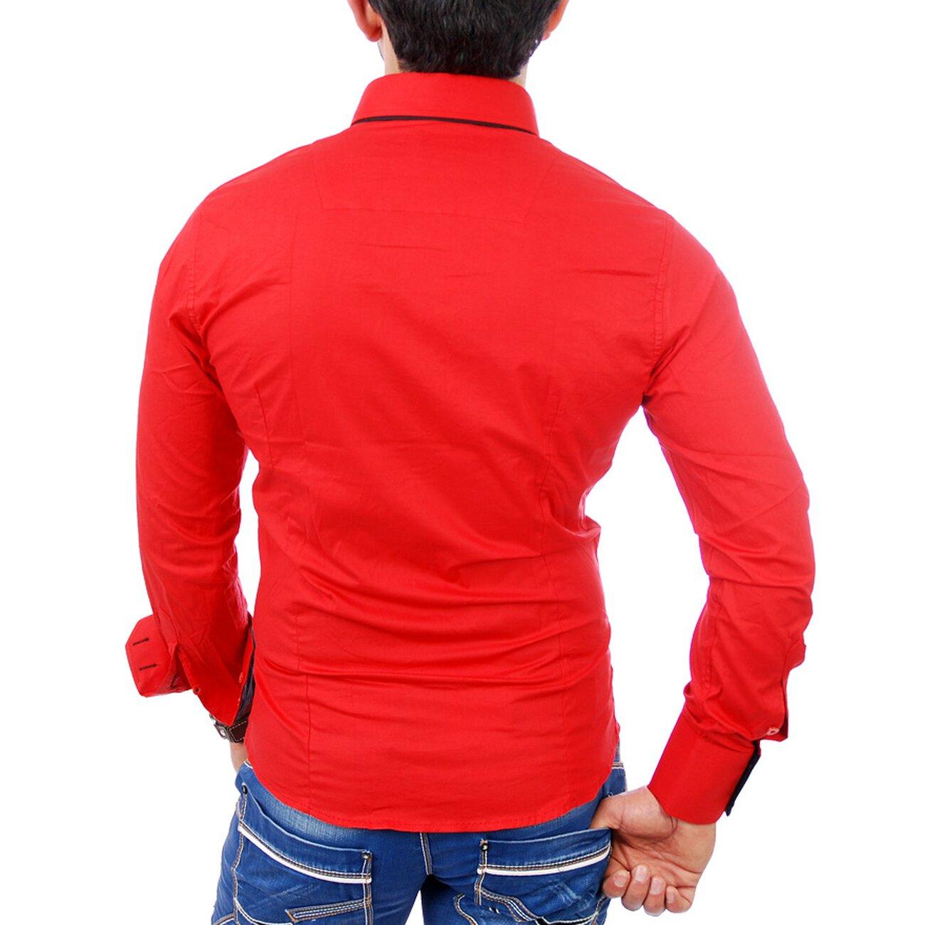 reslad herren langarm hemd alabama rs 7050 rot schwarz l. Black Bedroom Furniture Sets. Home Design Ideas