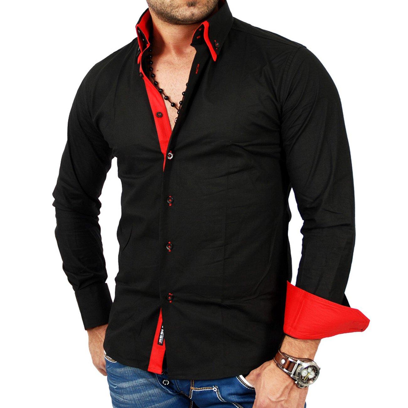 reslad herren langarm hemd alabama rs 7050 schwarz rot s. Black Bedroom Furniture Sets. Home Design Ideas