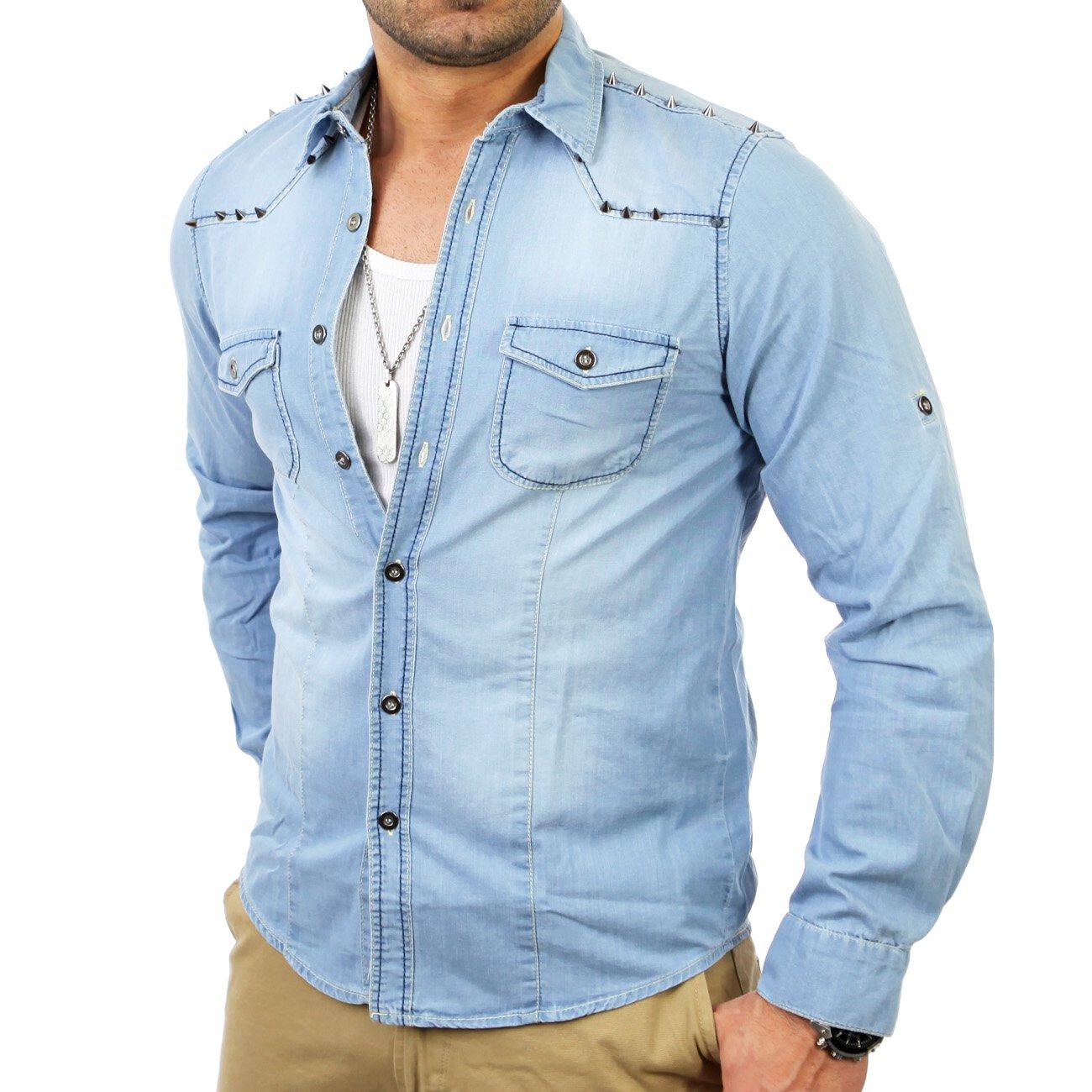 jeanshemd herren nieten langarm reslad hemden online. Black Bedroom Furniture Sets. Home Design Ideas