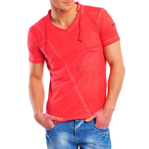 Reslad Herren Batik Style Used Look V-Neck T-Shirt 4019