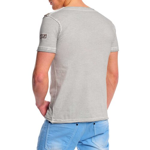 Reslad Herren Batik Style Acid Washed O-Neck T-Shirt 4021