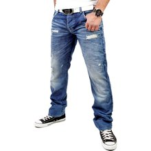 Cipo & Baxx Herren Denim Destroyed Look Jeans C-1010 Blau