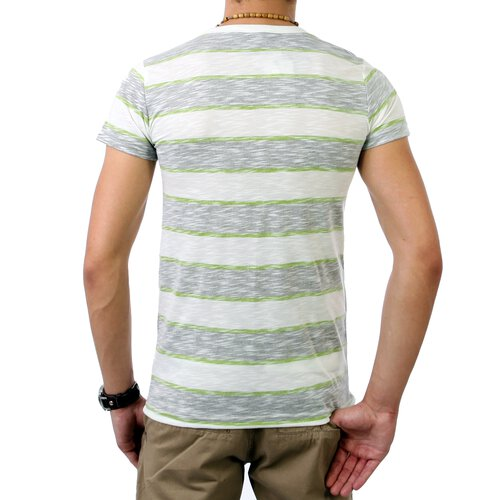 Sublevel Herren Y-Neck Stripes T-Shirt SL-20030