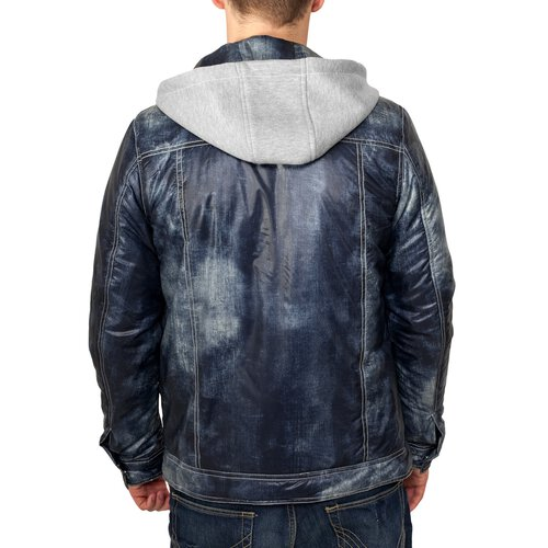 Urban Classics Herren Hooded Denim Look Jacke TB-568 Denimblue