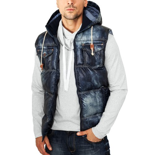 Urban Classics Herren Denim Look Stepp Weste TB-567 Denimblue