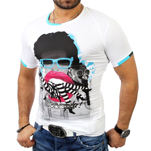 Cipo & Baxx Herren Strass Party Monster Club Print T-Shirt C-5313