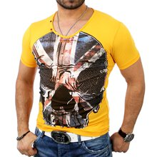 Cipo & Baxx Herren V-Neck Strass UK Flag Skull Print...