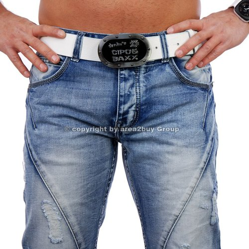 Jeansnet JN-2016 destroyed Look Club zipper Jeans hose , Blau
