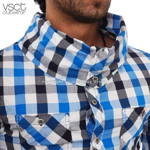vsct V-5640194 wide Collar party Club Style Karo Hemd, Türkis