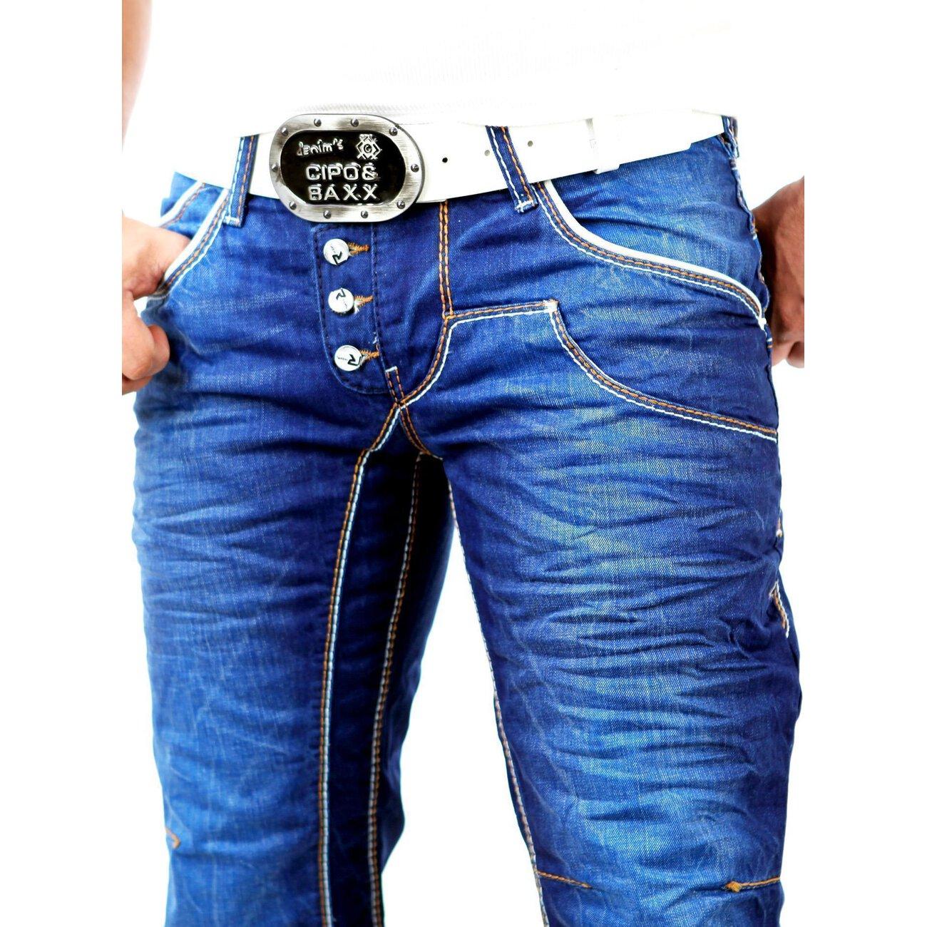 r neal herren used look dicke naht jeans hose rn 8442 25 blau w38 l34. Black Bedroom Furniture Sets. Home Design Ideas