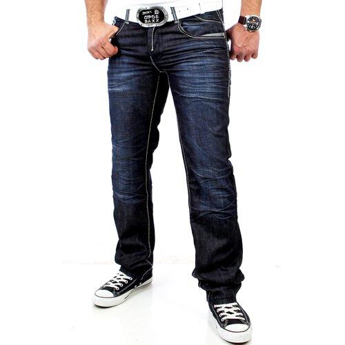 R-Neal Herren Kontrast Naht Jeans Hose RN-7585 Dunkelblau RN-7585