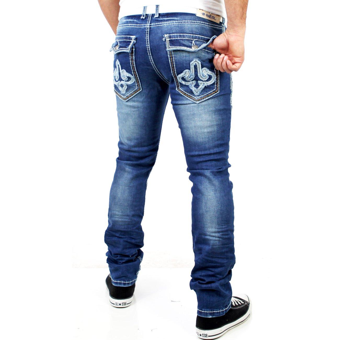 r neal herren skinny used look jeans hose rn 7586 blau. Black Bedroom Furniture Sets. Home Design Ideas