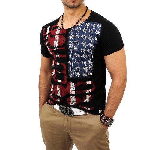 Redbridge Herren Wide Neck Party Flag T-Shirt RB-2014