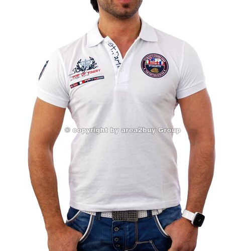 Free Side FS-1049 St.Barth Strick Polo Hemd Shirt weiß