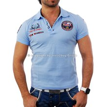 Free Side FS-1049 St.Barth Strick Polo Hemd Shirt h-blau