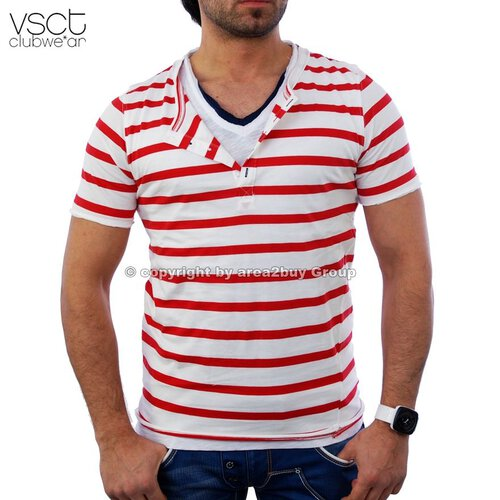 Vsct V-5640356 tripple Layer ringled tee Club T-Shirt rot weiß