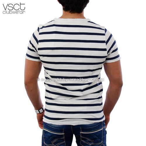 Vsct V-5640356 tripple Layer ringled tee Club T-Shirt blau weiß