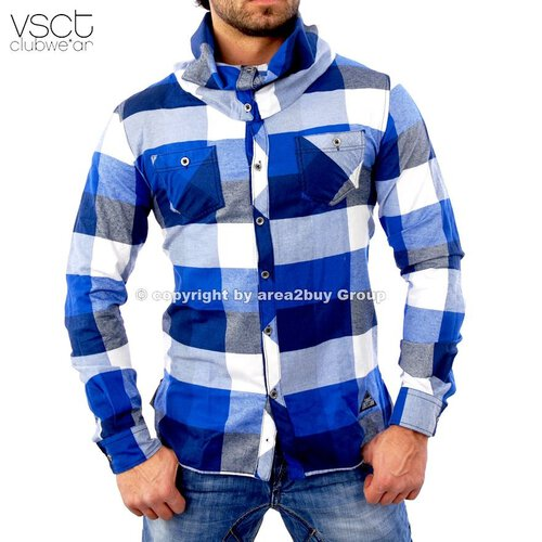 vsct V-5640319 Wide Collar big Karo hemd blau