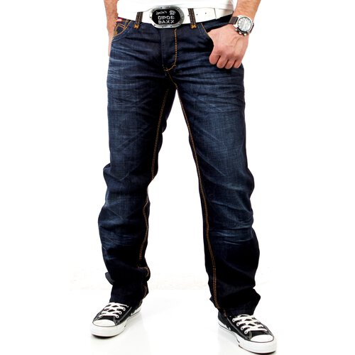 area2buy DE R-Neal Herren Clubwear Used Look Kontrast Naht Jeans Hose RN-7582 Blau