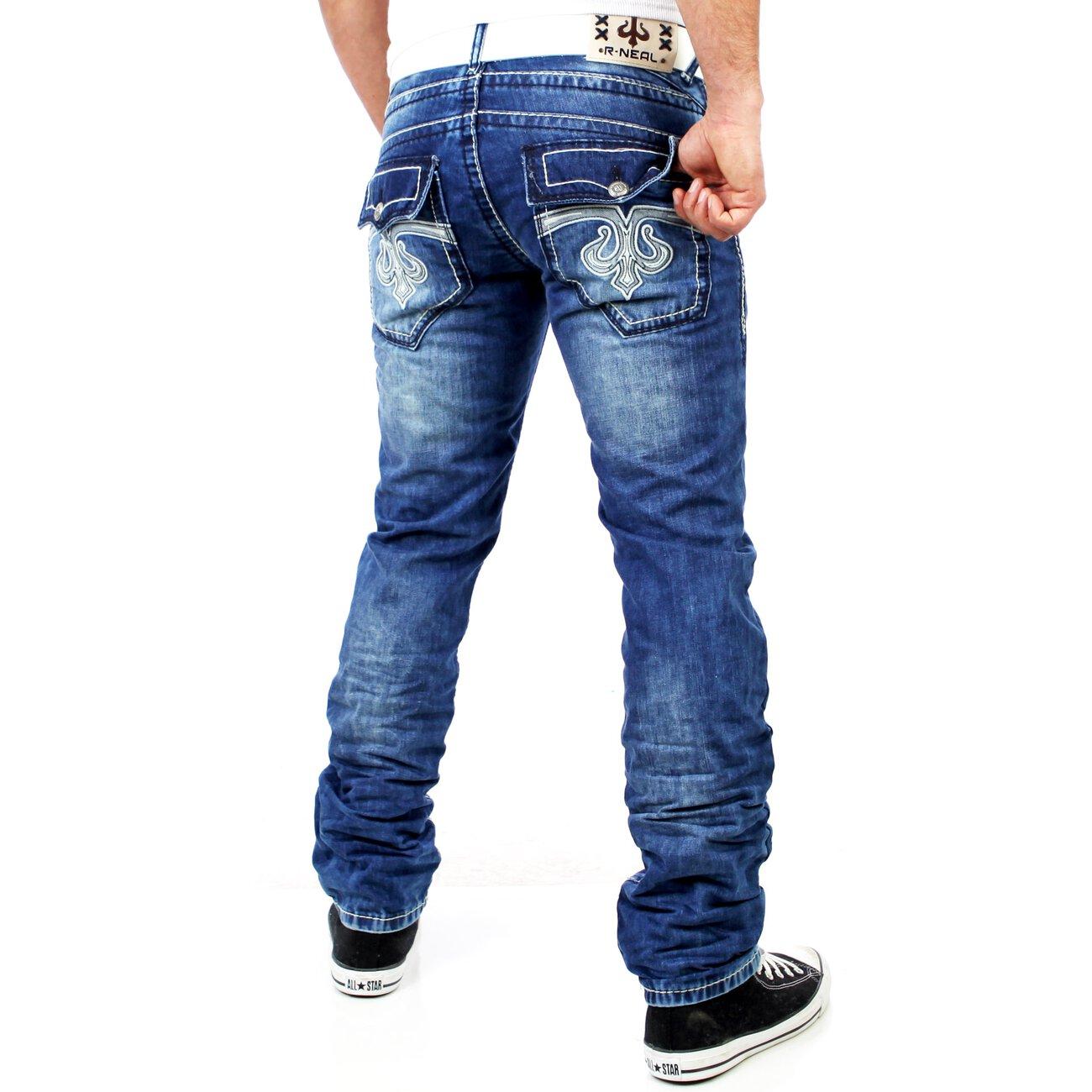 r neal herren kontrast naht used look jeans hose rn 7584. Black Bedroom Furniture Sets. Home Design Ideas
