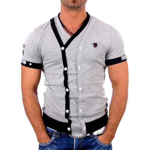 Kickdown Herren Buttoned 2in1 Layer Style T-Shirt K-1987