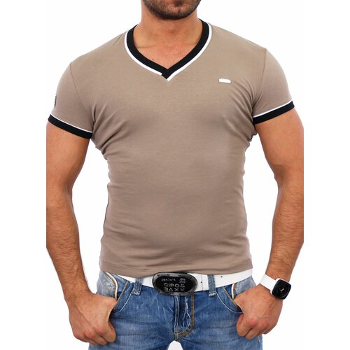 Kickdown Herren V-Neck Kontrast Club T-Shirt K-2317