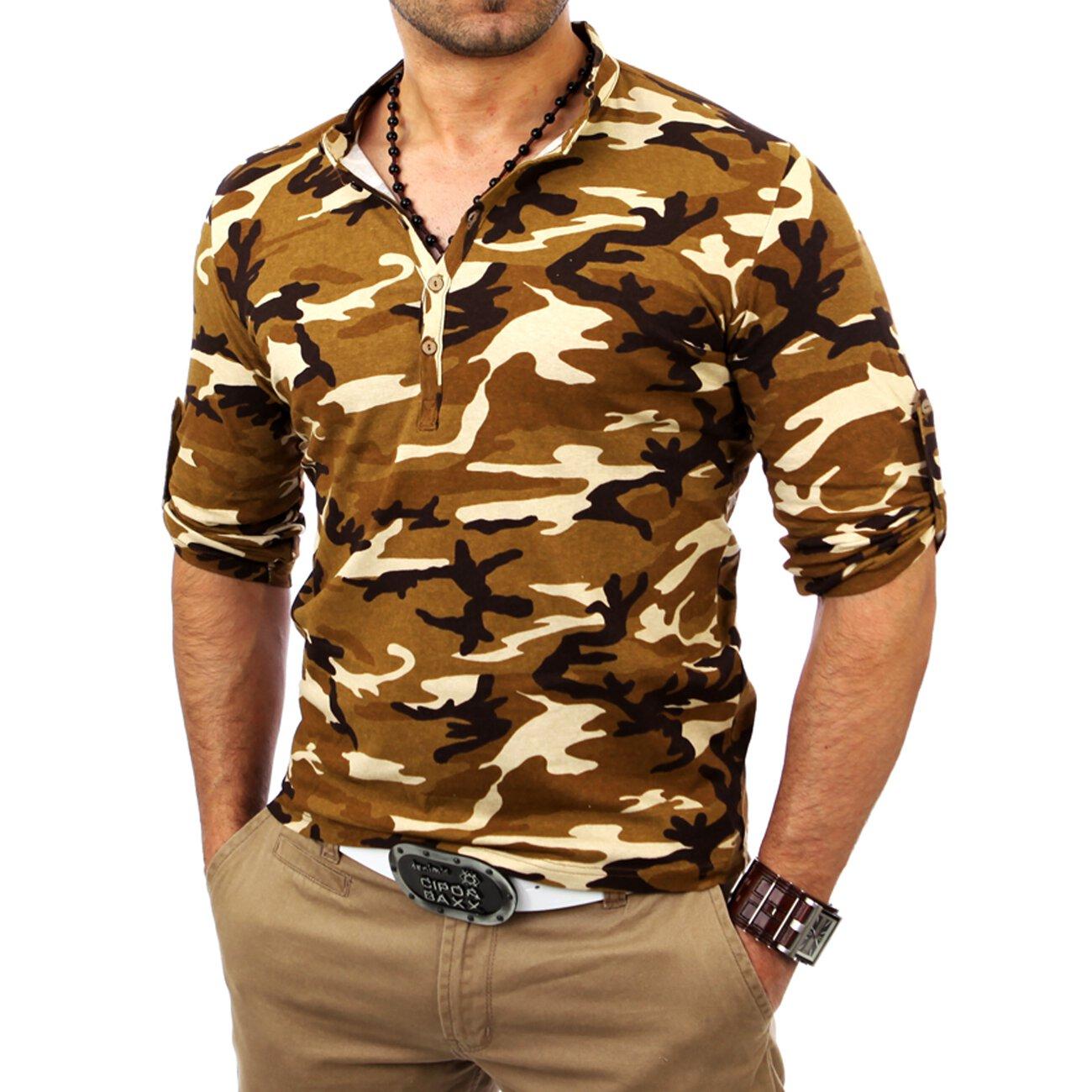 camouflage langarmshirt kickdown herren longsleeve. Black Bedroom Furniture Sets. Home Design Ideas