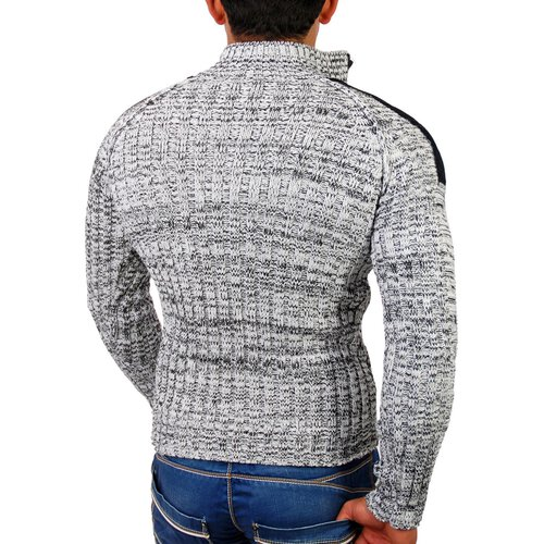 Tazzio Herren Patched Grobstrick Winter Pullover TZ-3570