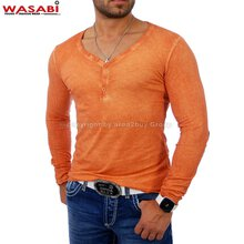 Wasabi wsb-1346 patched Batik Y-Neck Longsleeve Orange