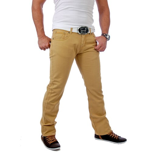 Tazzio Herren Colored Dicke Naht Jeans Hose TZ-5100 Curry-Beige