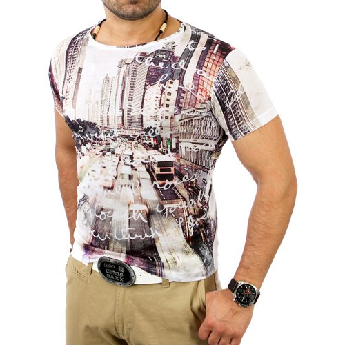 Reslad Herren Full Print City Rush T-Shirt YR-1317 Weiß