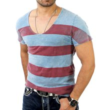 Reslad Herren Wide Neck Striped Vintage Look T-Shirt RS-1199