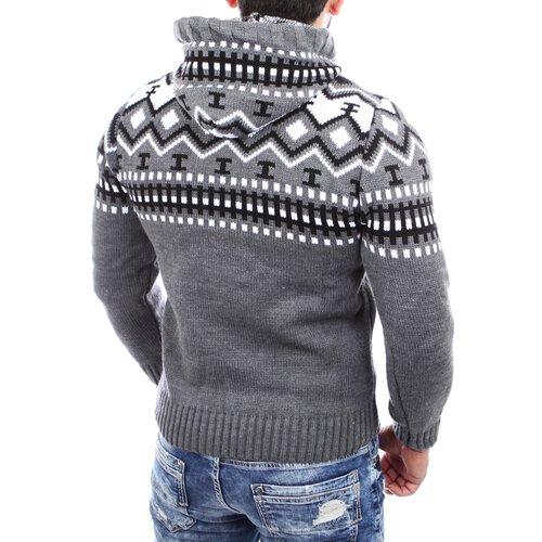 Reslad Herren Grobstrick Pullover Norweger Winter Kapuzenpullover RS 3013