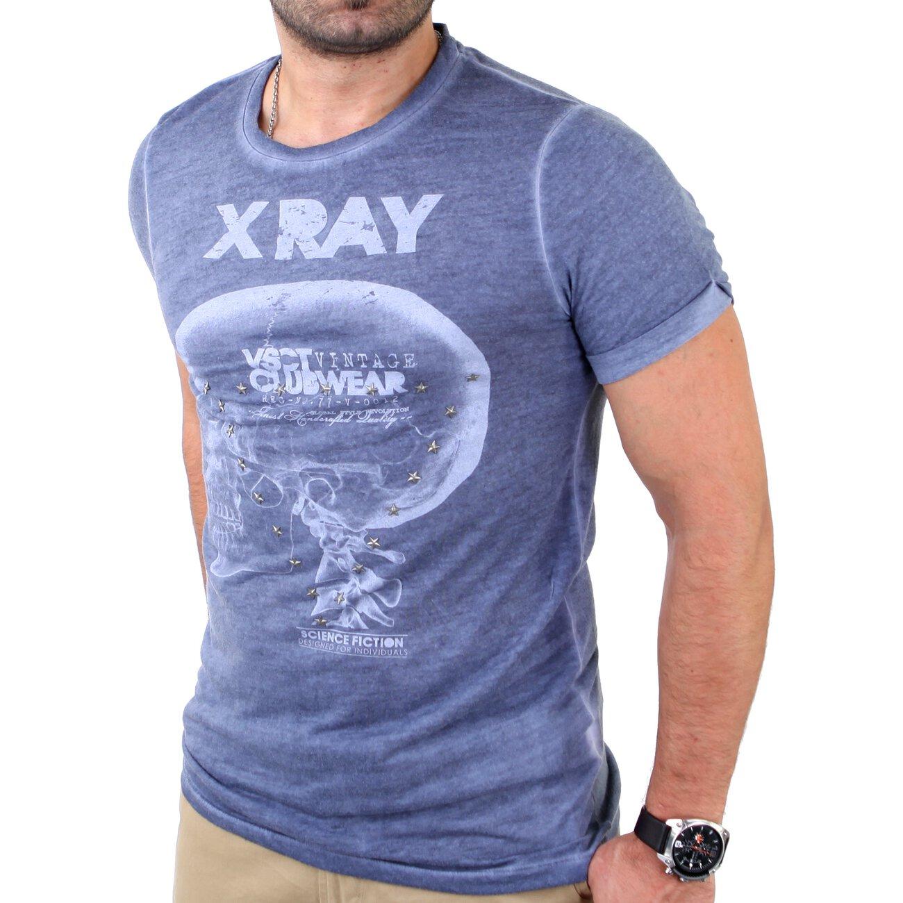 t shirt mit nieten vsct x ray print herren t shirt kaufen. Black Bedroom Furniture Sets. Home Design Ideas
