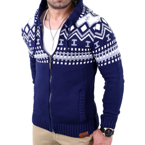 Reslad Herren Grobstrick Norweger Winter Strickjacke mit Kapuze RS-3104