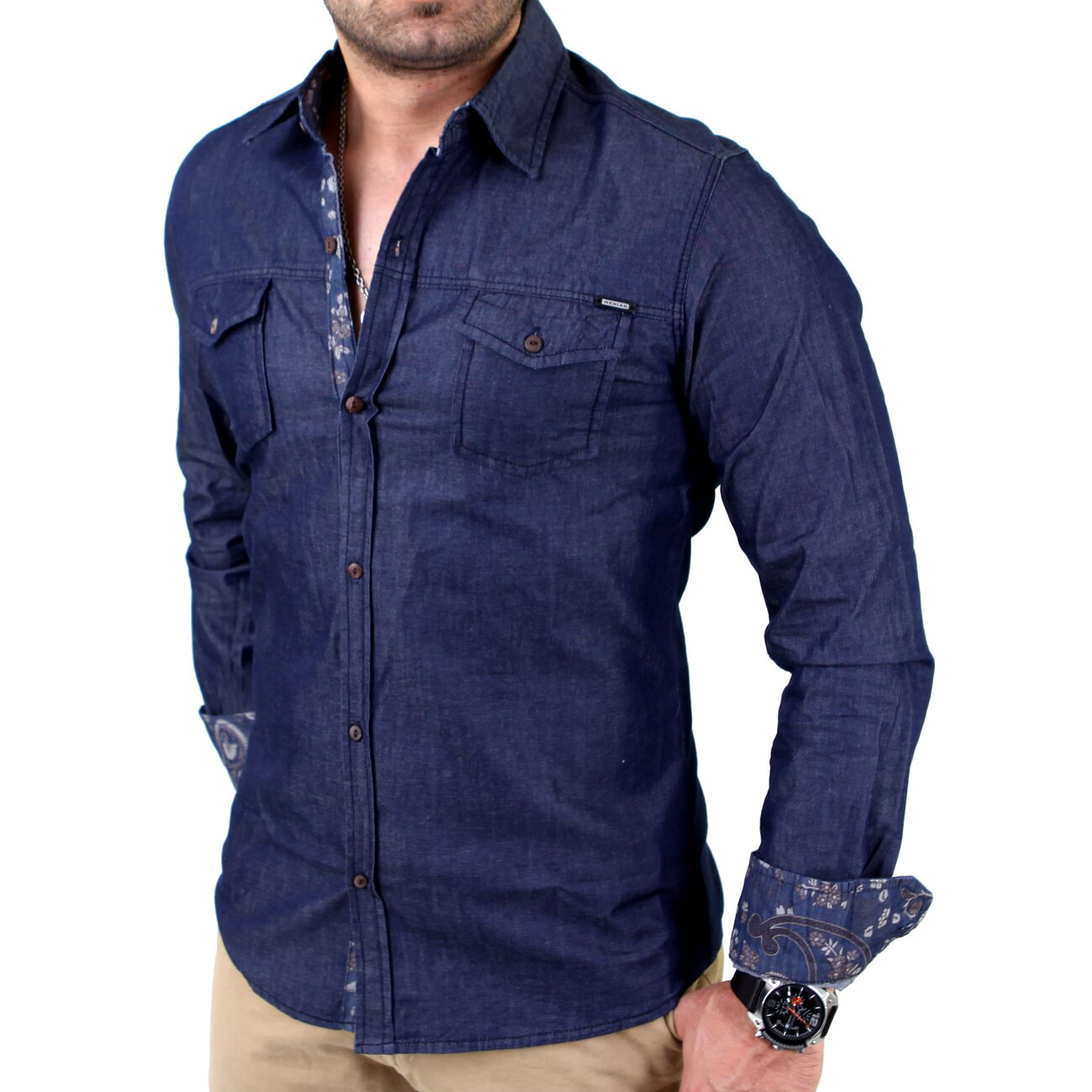 jeanshemd dunkelblau premium resald hemd g nstig kaufen. Black Bedroom Furniture Sets. Home Design Ideas
