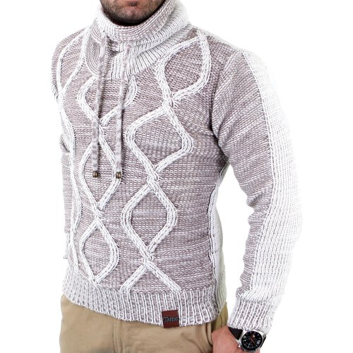 Tazzio Herren Grobstrick Huge Collar Winter Pullover TZ-3992