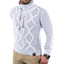 Tazzio Herren Grobstrick Huge Collar Winter Pullover...