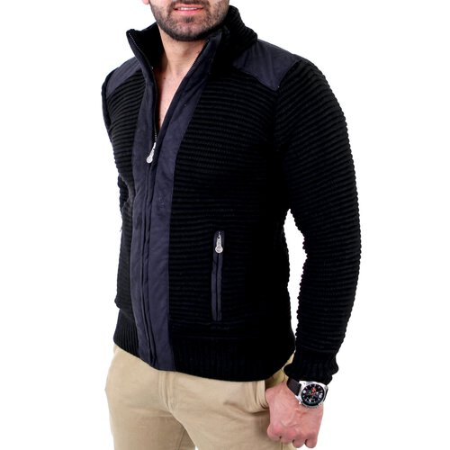 Reslad Herren Grobstrick Winter Strickjacke RS-3203