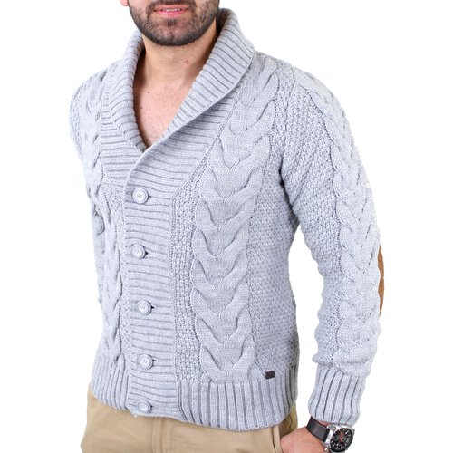 Reslad Herren Patched Cardigan Winter Strickjacke RS-3209