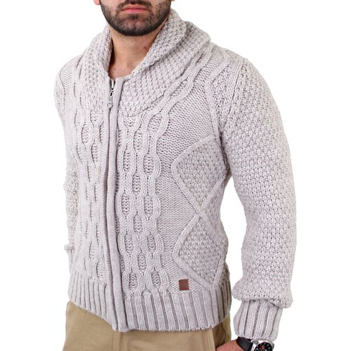 Reslad Herren Grobstrick Turn Down Collar Winter Strickjacke RS-3210