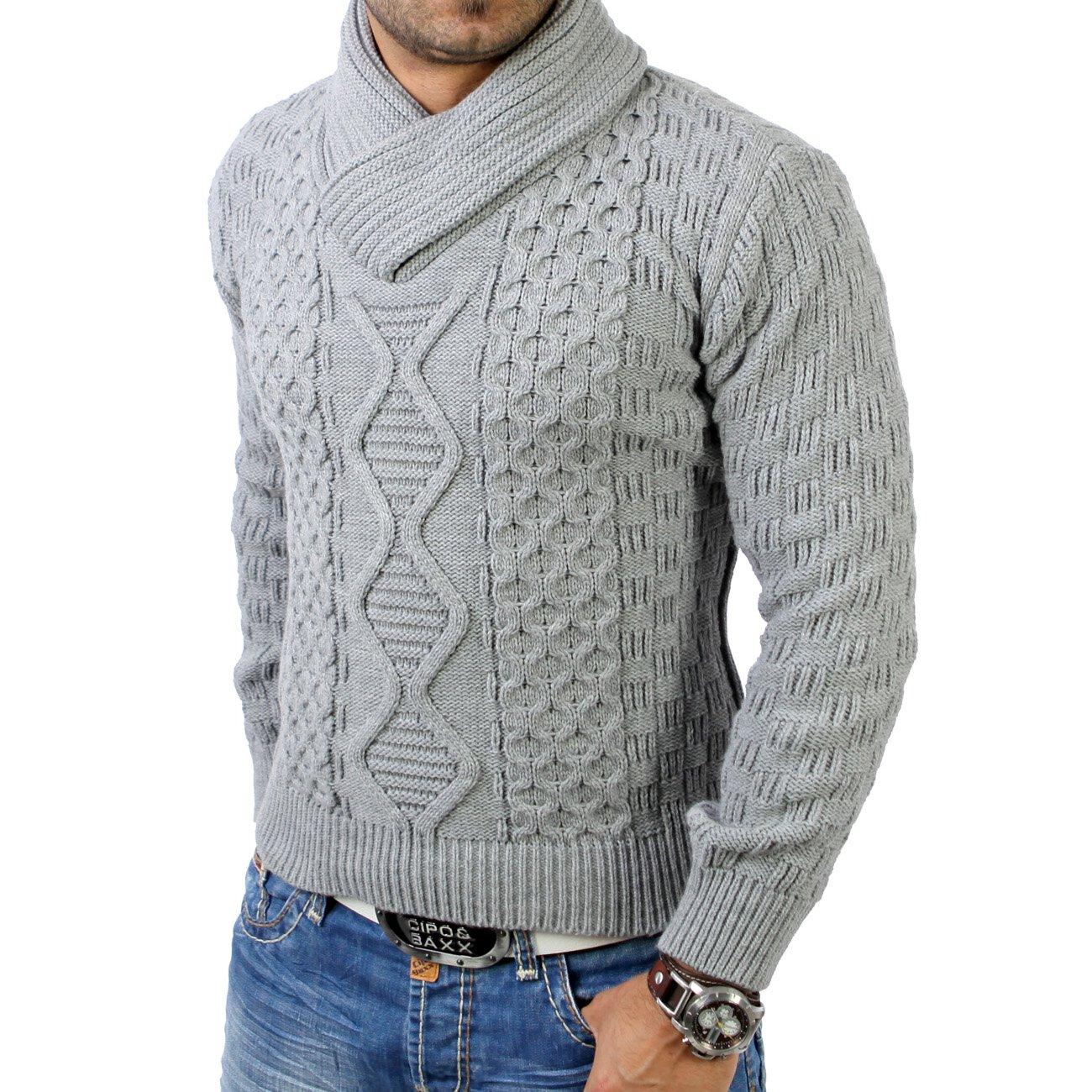 new product 2cc08 c39cf Tazzio Herren Schalkragen Strickpullover Winter Pullover TZ-3500